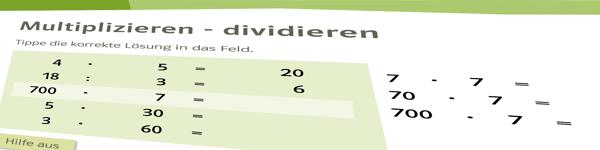 Rechentraining, Multiplikation - Division