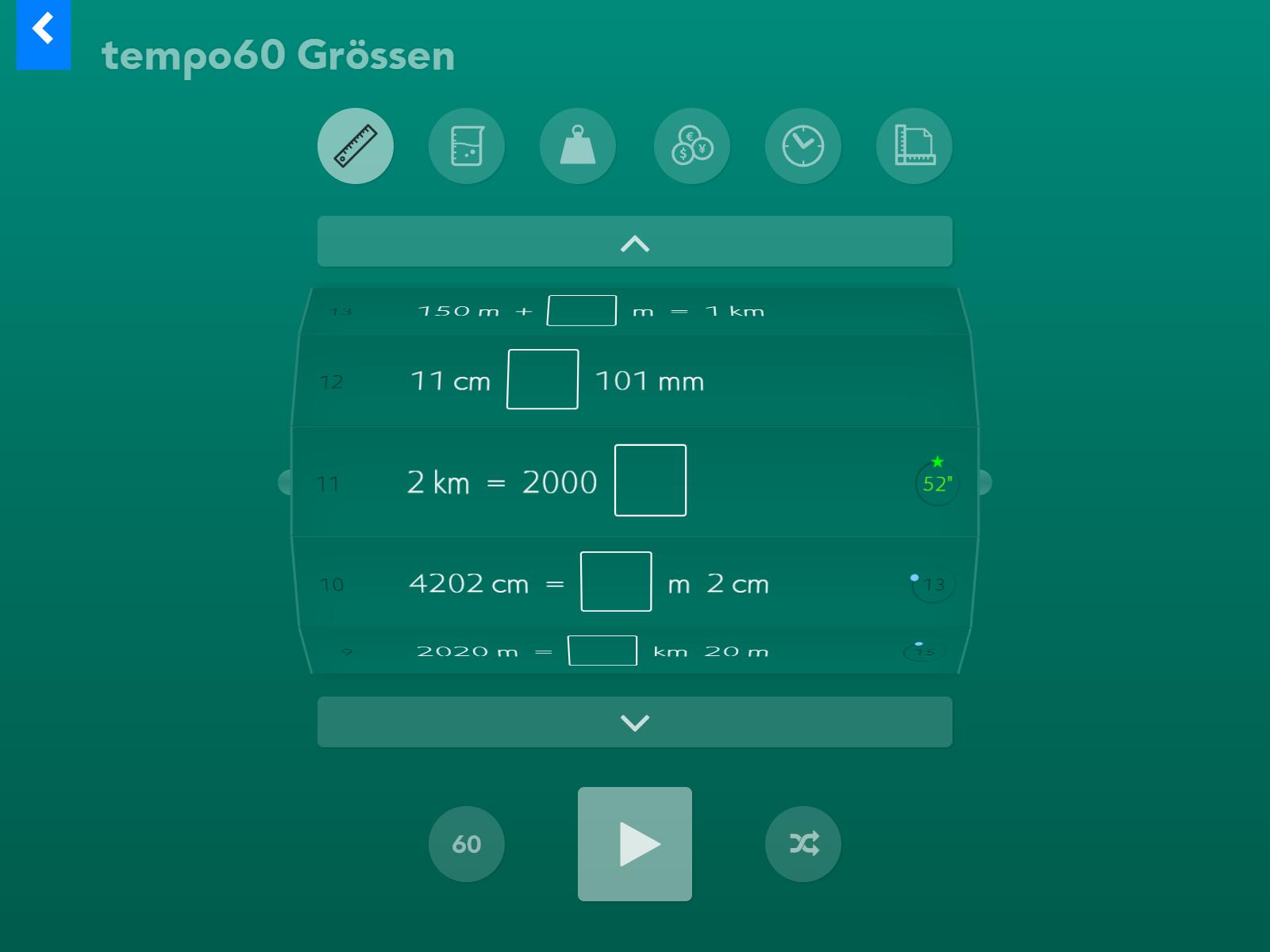 tempo60 Grössen Startbildschirm