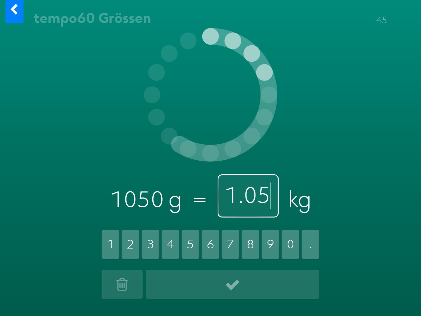 tempo60 Grössen: Umwandeln in die grössere Einheit.