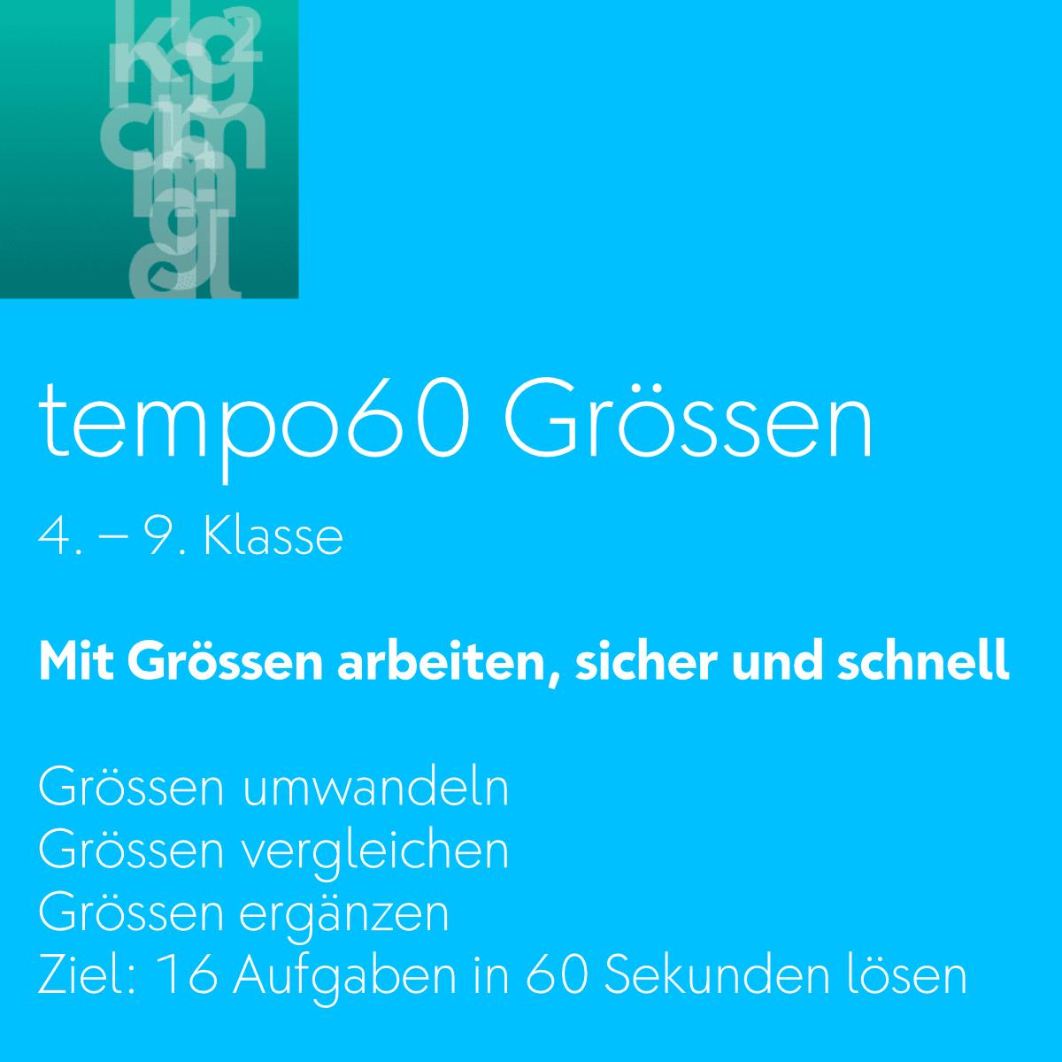 tempo60 Grössen