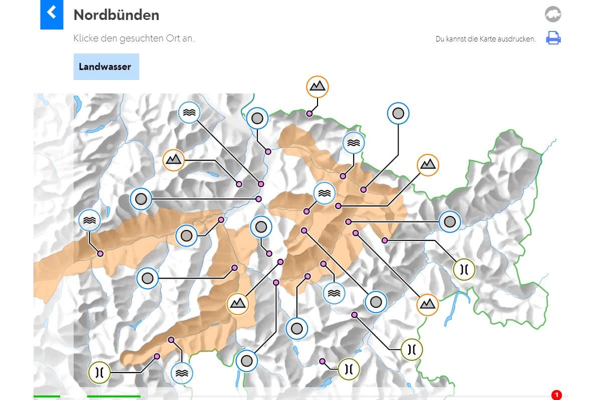 Geografie Schweiz: Abschlussübung Region Nordbünden